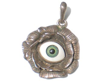 Sterling Silver Pendant Glass Evil Eye in Flower - Vintage Jewelry Art Glass