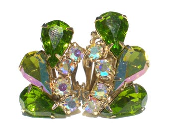 Juliana Rhinestone Clip Earrings with Green Teardrops with Iridescent Rhinestones on Gold Tone - Vintage Jewelry