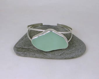 Seafoam Sea Glass Bezel Cuff Bracelet