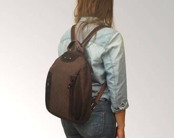Backpack ,handmade in patterned canvas  and leather ,named NAXOS