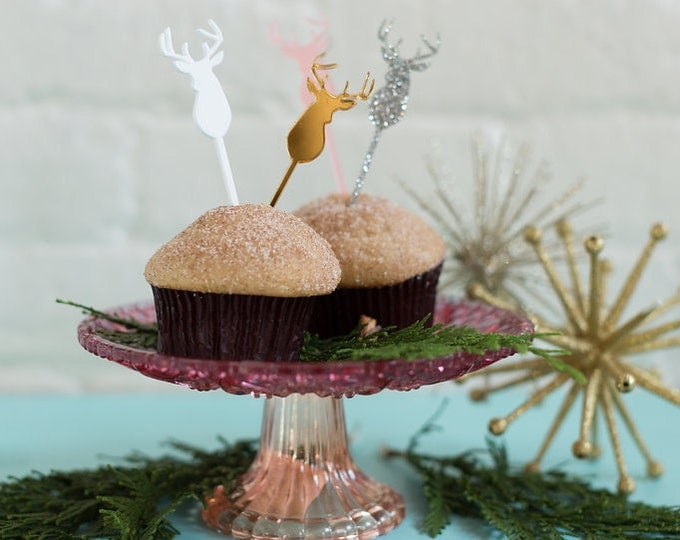 Stag head, Deer Head 6 CT. Cupcake Toppers, Cake Topper, Food Picks, Laser Cut, Acrylic, Holiday and Christmas Cake Toppers