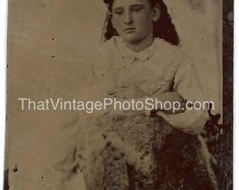 Digital Vintage Photo Tintype  Little Serious Girl