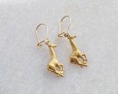 Giraffe Earrings . Small Safari Animal Kidney Ear Wires . Gold Raw Brass . Womens Jewellery . Dangle Drop Charm Jewelry . Gifts for Women UK