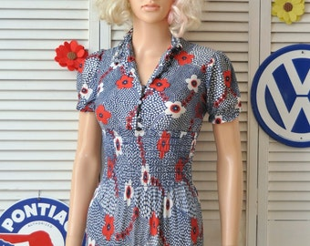 Vintage Micro-Mini 60's 70's Dress/Womens Teens Juniors/Red White Blue Floral-Dot Print/Smocked Elastic Waist/Theater Costume XS as is
