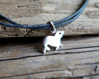 """Little Seal Sterling silver Cotton cord Bracelet from the """"Petite Ménagerie"""" collection by Camille Grenon - Arctic Sea Animal Sea lion"""