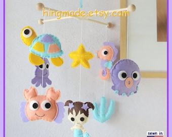 Baby Mobile, Mermaid Mobile, Baby Girl Mobile, Baby Crib Mobile, Nursery Mobile, Aqua Coral Purple Sunflower, Under the sea theme