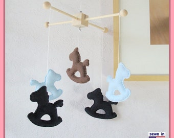 Baby Crib Mobile, Baby Mobile, Rocking Pony Mobile,Nursery Decor, Modern Mobile, Navy Blue Brown theme, Custom Mobile