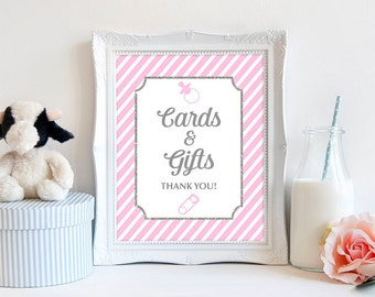 Cards and Gifts Sign, Pink Stripe Baby Shower, Pink and Gray,  Baby Girl, INSTANT PRINTABLE