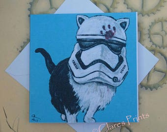 Stormtrooper Kitty Cat Art Star Wars Greeting Card From my Original Painting