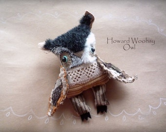 Sold. Howard Woohsy  Owl , soft art  creature  toy by  Wassupbrothers, buho, boho lacy, soft friend, stuffed textile doll
