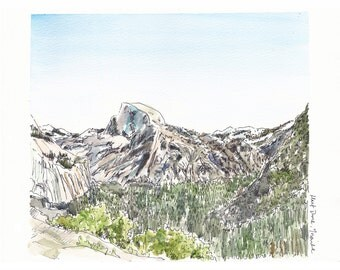 Half Dome view, Yosemite Valley, California - Travel art print from an original watercolor sketch