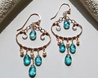 Apatite Chandelier, Rose Gold Aqua Earrings, Pink Aqua Chandelier Earrings, Apatite Dangle Earrings, Pink Pearl Chandelier:  Ready to Ship