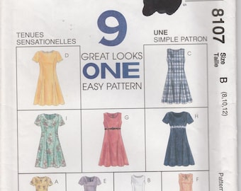 Easy Dress Pattern 9 Looks Pullover Back Zipper Misses Size 8 - 10 - 12 uncut McCalls 8107