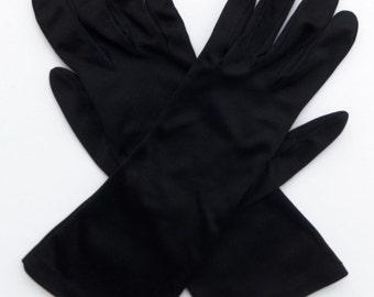 Vintage 60's Women's Gloves Black Nylon Size 7 Mid Length