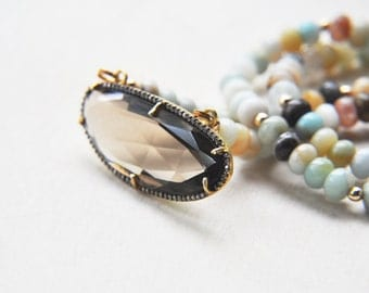 Smoky Quartz, Amazonite Necklace, Beaded Necklace, Brown Necklace, Neutral Necklace, Stone Necklace, Boho Chic Necklace, Quartz Necklace