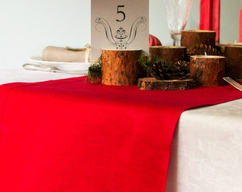 Red Table RUNNER Rustic Table Decor Wedding Runner Crimson Linen Runner Poppy Red Runner with Borders