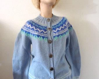 1950s Fair Isle Cardigan Sweater vintage light blue wool button front jumper