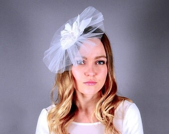 Bridal fascinator, bridal headpiece, wedding, white tulle fascinator, veil