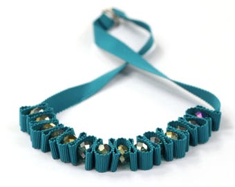 Teal ribbon necklace with chunky glass beads