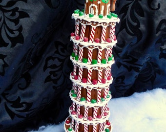 Faux Gingerbread Leaning Tower of Pisa-- Buon Natale!