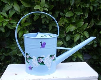 Hand Painted Light Blue Enamel Metal Watering Can Pink Roses White Daisies Hydrangeas Flowers Purple Butterflies