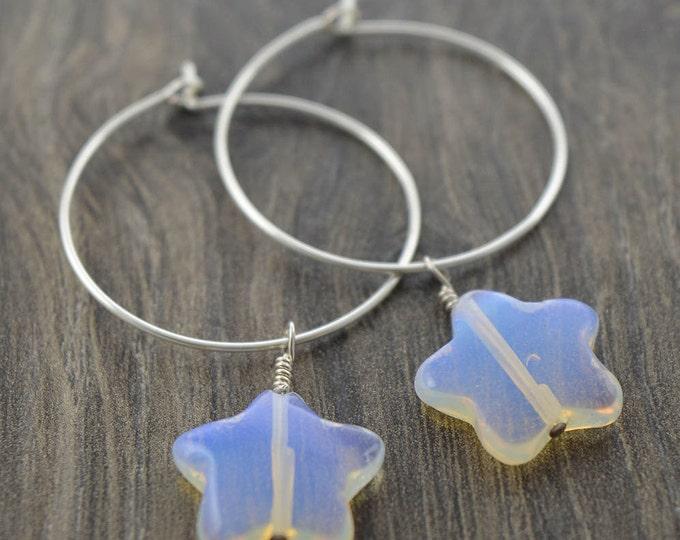 Opalite Star Hoop Earrings