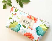 Personalized Cosmetic Bag, Baby Shower Hostess Gift, Personalized Hostess Thank You, Word or Name Inscription MADE TO ORDER MamaBleuDesigns