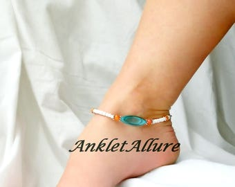 Beach Anklet Blue Shell Anklet Cruise Ankle Bracelet Beach Jewelry