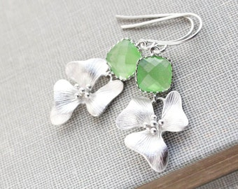 Greenery Green Glass Earrings Orchid Flower Earrings Floral Drop Bridemaids Gift Wedding Jewelry Spring Colors Silver or Gold Lime Green