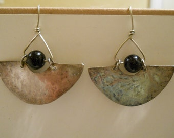 Sale - Hand Forged Hammered Sterling Silver and Onyx Taxco Style Earrings
