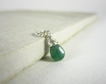 Md - Natural Emerald Birthstone Jewelry - Genuine Emerald Gemstone Jewelry - Born in May Birthstone Pendant - Sterling Silver Charms