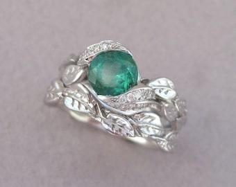 Leaf Engagement Ring Set, Emerald White Gold Bridal Set, Wedding Leaf Ring Set, Emerald Engagement Ring, Emerald Wedding Set, Vine Ring Set