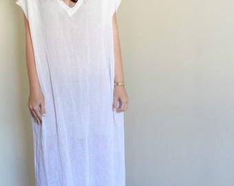 Vintage White Cotton Caftan Dress / Sheer / Spring Dress / Hippie Boho
