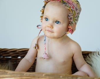 Baby Girl Bonnet in Mauvey Liberty Print// Toddler Girl's Ruffle Bonnet// Handmade Cotton Baby Bonnet// Girl's Summer Bonnet