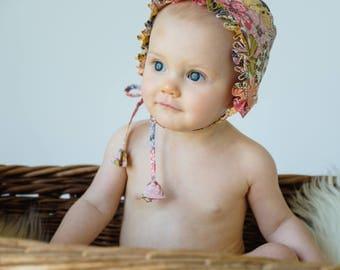 Baby Girl Bonnet in Mauvey Liberty Print// Toddler Girl's Ruffle Bonnet// Handmade Cotton Baby Bonnet// Girl's Summer Bonnet