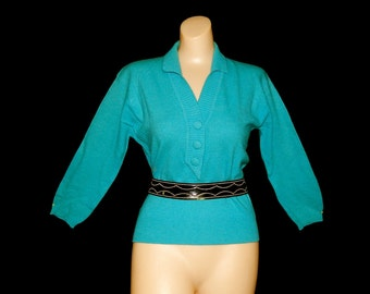 Cute vintage 50's turquoise blue wool sweater V neckline lambs angora rabbit bombshell new look rockabilly arrow Ades Of California - L / XL