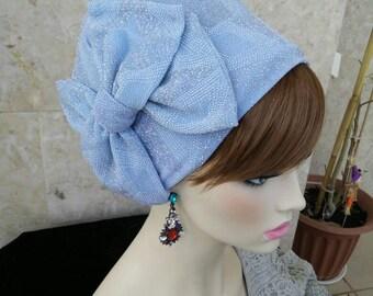head covering, Fancy snood, Jewish head covering, turban hijab, by oshratdesignz