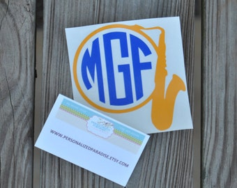 Vinyl Saxophone Decal, Saxophone Decal, Vinyl Decal, Saxophone Monogram, Band Decal, Music Decal, Instrument Decal, Marching Band Decal