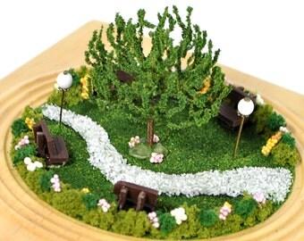 Spring Park - Miniature Garden Scene Handmade Diorama Desktop Garden Fairy Garden Terrarium Gift for Her by A Garden to Treasure
