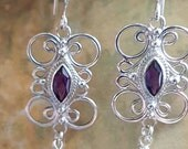 Sold Handcrafted sterling silver scroll earrings with 8x6 mm marquis shaped amethyst gemstone,and handcut amethyst briolettes