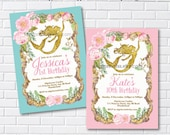 Mermaid birthday party invitation for any age, retro mermaid under the sea, 1st 2nd 3rd 4th 5th 6th 8th 9th 10th little girl - 1087