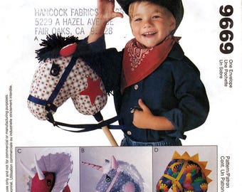 McCall's 9669 Sewing Pattern for Stick Horse, Unicorn and Dino - Uncut
