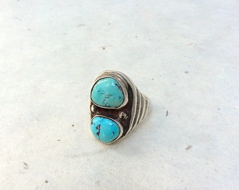 Vintage Dual Turquoise Ring | Double Turquoise Ring | Native American Made | Hand-Crafted Jewelry | Native American, Boho, Hippie | Size 9.5