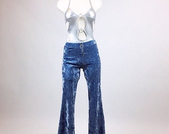 90's does 70's Sky Blue Crushed O-ring Zipper Velvet High Waisted Boho Festival Pants // M - L