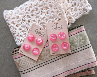 Vintage Trim, Pink Buttons, Vintage Lace Trim, Vintage Woven Ribbon, Pink and Green, Vintage Sewing Supply, Vintage Ribbon, Plastic Buttons