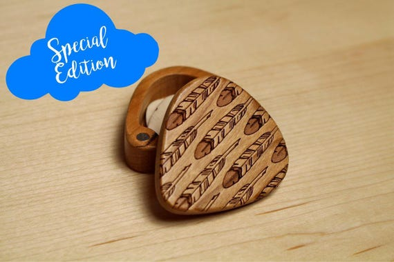 """Special Edition Feather Guitar Pick Box, 2-1/4"""" x 2"""" x 3/4"""" d, Pattern G4 Slender, Solid Cherry wood, Laser Engraved, Masterpiece Laser"""