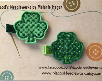 Shamrock Hair Clips - Light Green or Dark Green Shamrock Hair Accessories - Set of two or individually