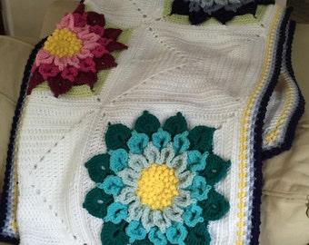 Pop of Color Afghan with large flowers