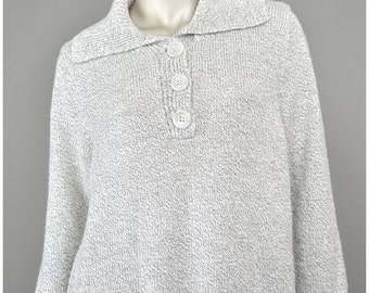 30% 0FF SALE 80s Sweater Fisherman Sweater Light Grey Sweater Knit Sweater Shawl Collar Pullover Sweater Collared Sweater 1980s Sweater