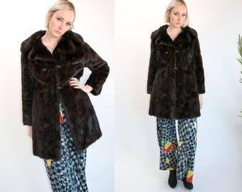 Vintage 1950's Brown Sable Fur Coat Monogrammed Button Up Women's High Fashion Luxury Size Medium